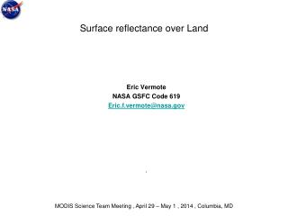 Surface reflectance over Land