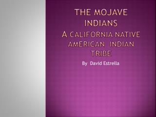 The  M ojave  Indians A  California  native  American  indian  tribe