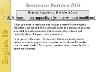 Sentence Pattern #10