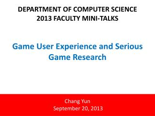 Game User Experience and  Serious  Game  Research