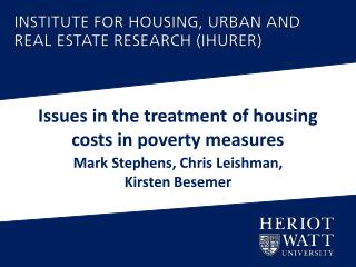 Issues in the treatment of housing costs in poverty measures