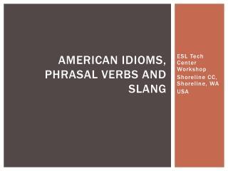 American Idioms, Phrasal Verbs and Slang