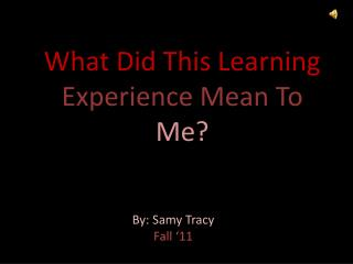 What Did This Learning  Experience Mean To  Me?