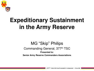 Expeditionary Sustainment  in the Army Reserve