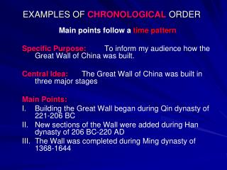 EXAMPLES OF  CHRONOLOGICAL  ORDER