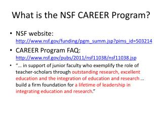 What is the NSF CAREER Program?