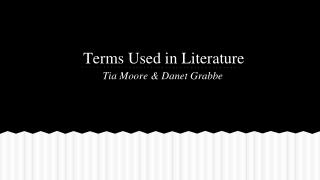 Terms Used in Literature