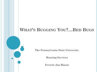 What�s Bugging You?�Bed Bugs