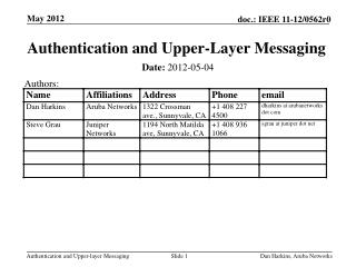 Authentication and Upper-Layer Messaging