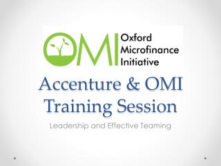 Accenture & OMI Training Session
