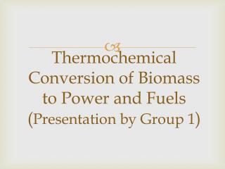 Thermochemical  Conversion of Biomass to Power and Fuels ( Presentation by Group 1 )