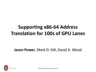 Supporting x86-64 Address Translation for 100s of GPU Lanes