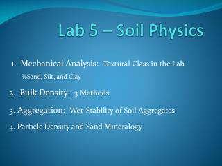 Lab 5 – Soil Physics