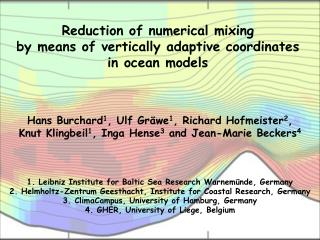 Reduction of numerical mixing  by means of vertically adaptive coordinates  in ocean models