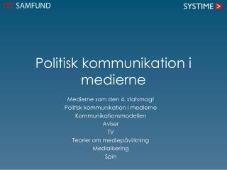 Politisk kommunikation  i medierne