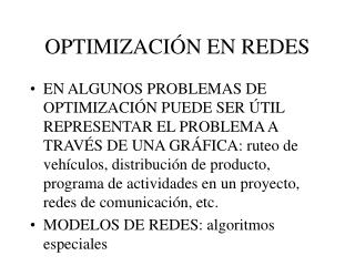 OPTIMIZACI N EN REDES