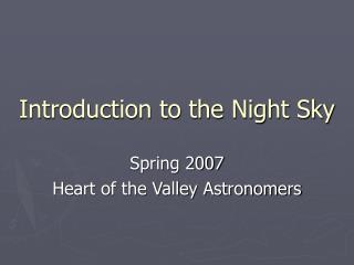 Introduction to the Night Sky