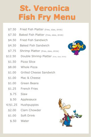 St. Veronica   Fish Fry Menu