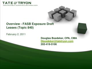 Overview - FASB Exposure Draft Leases (Topic 840)