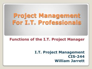 Project Management For I.T. Professionals