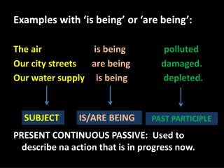 Examples with  'is  being '  or 'are  being ': The air       is  being polluted .