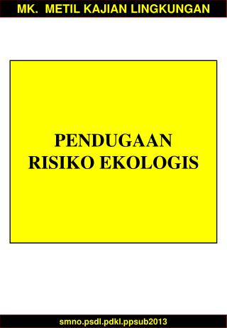 PENDUGAAN RISIKO  EKOLOGIS
