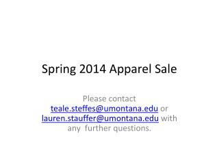 Spring 2014 Apparel Sale
