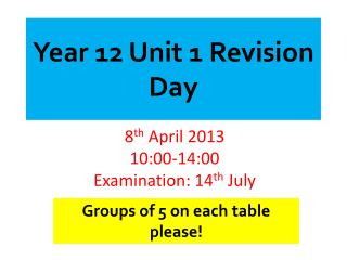 Year 12 Unit 1 Revision Day