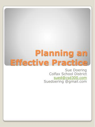 Planning an Effective Practice