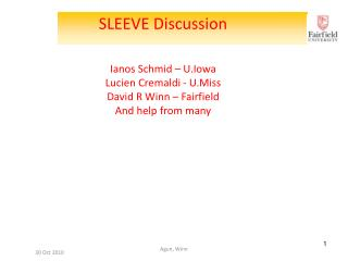SLEEVE  Discussion Ianos Schmid  �  U.Iowa Lucien  Cremaldi  -  U.Miss David  R  Winn � Fairfield