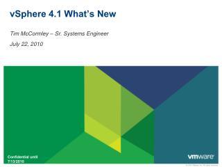 vSphere 4.1 What's New
