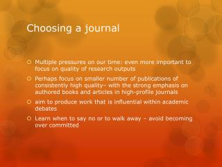 Choosing a journal