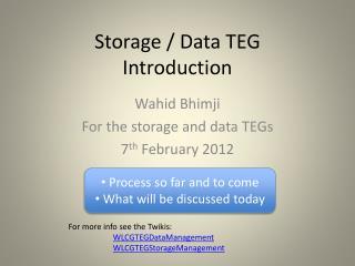 Storage / Data TEG  Introduction