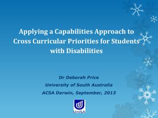 Applying a Capabilities Approach to Cross Curricular Priorities for Students with Disabilities