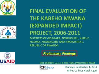 Thursday, September 1, 2011 Milles  Collines  Hotel, Kigali