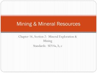 Mining & Mineral Resources