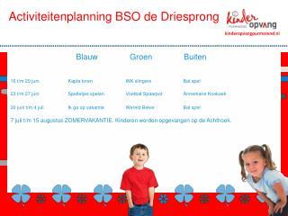 Activiteitenplanning BSO  de Driesprong