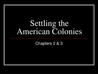 Settling the American Colonies