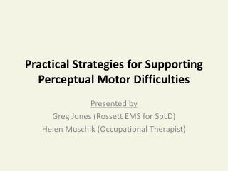 Practical Strategies for Supporting Perceptual Motor Difficulties