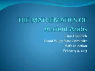 THE MATHEMATICS OF  Ancient Arabs