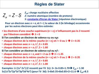 Règles  de Slater