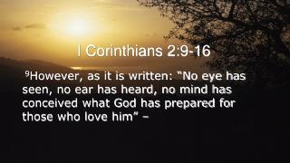 I Corinthians 2:9-16