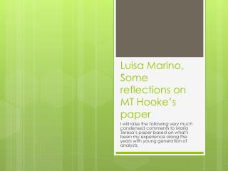 Luisa Marino,  Some reflections on MT Hooke's paper