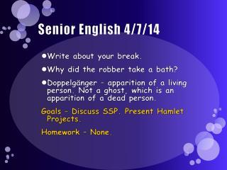 Senior English  4/7/14