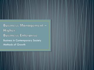 Business Management – Higher Business Enterprise