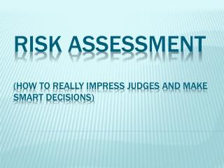 Risk Assessment (how to really impress judges and make smart decisions)