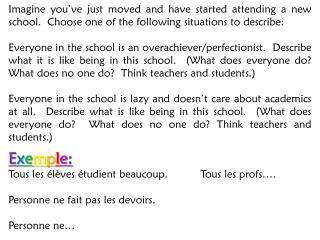 E x e m p l e : Tous les élèves étudient beaucoup.Tous les profs….