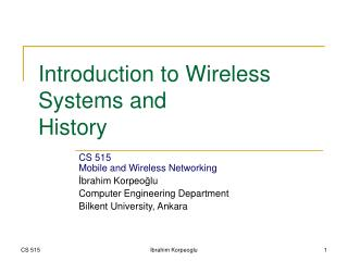 Introduction to Wireless Systems and History
