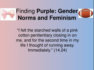 Finding  Purple: Gender Norms and Feminism