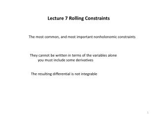 Lecture 7 Rolling Constraints